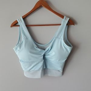 Capezio Light Blue Knotted Sheer Sports Bra Large